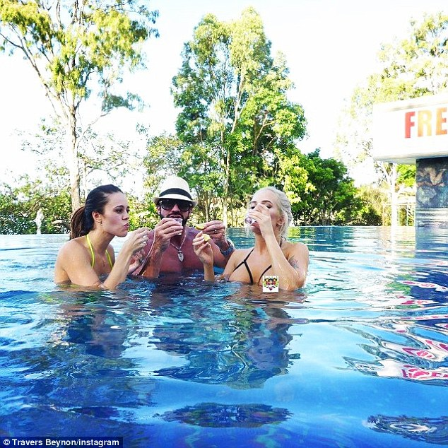 My Beynon (pictured here with wife Taesha and girlfriend) throws ostentatious parties at his 'Playboy' home