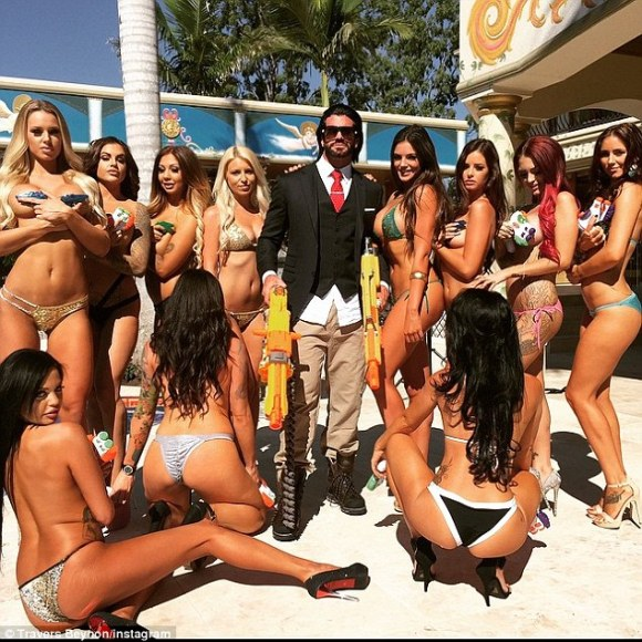 Travers Beynon holds wild parties at his Gold Coast mansion, and then shares pictures with fans online
