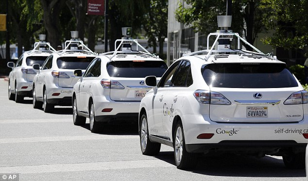 Four of the 48 self-driving cars on Californian roads have crashed. Three were operated by Google, and one was an Audi car. But both companies said their cars had not been at fault in the accidents. This photo shows a row of Google self-driving Lexus cars in California