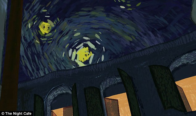 Even the 'starry night' painting makes an appearance in the virtual world