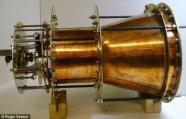 One recent development that made headlines was the EMDrive, which converts electrical energy into thrust without rocket fuel. It provides thrust to a spacecraft by bouncing microwaves around in a closed container. Pictured is the first device created by Roger Sawyer
