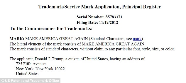 Trump applied for his trademark 13 days after Barack Obama was re-elected president, an indication of how quickly he began thinking about succeeding him