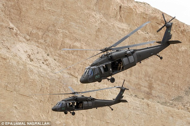 Chopper attack: Black Hawk helicopters are also thought to have been used in the overnight raid