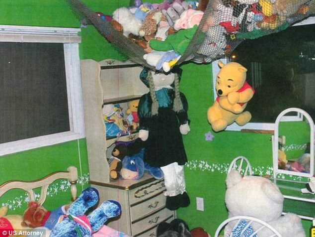 The house contained a second-floor bedroom decorated for little girls, painted green and purple, with numerous stuffed animals, some wearing girl's underwear or adult female lingerie; boxes containing condoms, sex 'toys,' restraints, a mask and a leash
