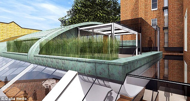 Plans: Digital imaging of the centre's expansion (seen above) reveal that the roof will be transformed with a modern, glass-pannelled extension - with long grass planted outside ensuring the privacy of visitors