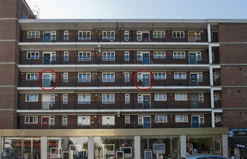 Pricey: The two-bedroom apartments (circled) were formerly owned by the council but are now on the market for more than £1million