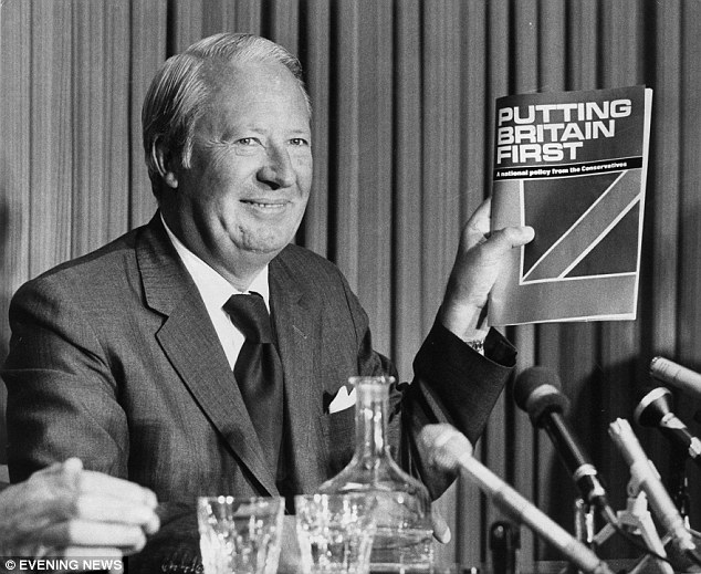 Heath is pictured on the run-up to the second general election in October 1974, which the Conservatives lost
