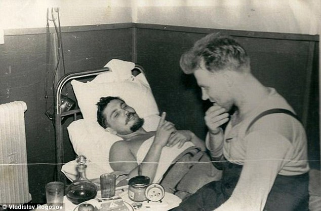 Russian surgeon Leonid Rogozov, (pictured left with his friend Yuri Vereschagin), was forced to remove his own appendix when he was stranded on an expedition in the Antartic - as he was the only doctor on the team
