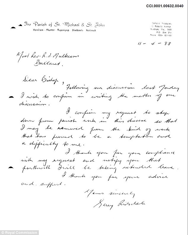 In a letter to the then Bishop of Ballarat Ronald Mulkearns on  April 11 in 1988, Ridsdale steps down from parish work in Horsham. Writing that the post 'proved to be a temptation and a difficulty for me'