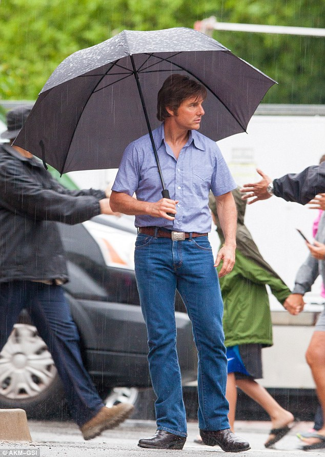 No umbrella handler needed! Tom Cruise braved the Georgia rain as he filmed Mena in Ball Ground on Tuesday