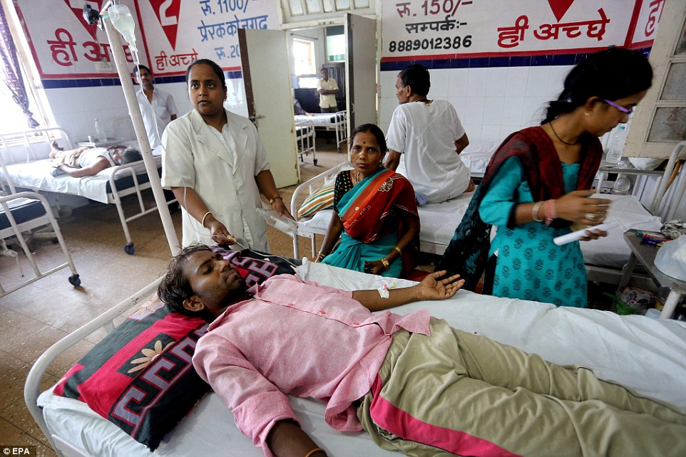 Sunil, 30, receives medical treatment in Jai Prakash Narayan hospital after suffering sunstroke and severe dehydration in Bhopal Madhya Pradesh, India,
