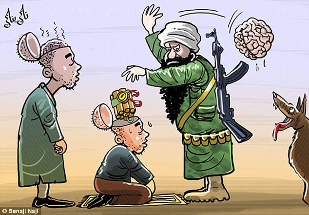 An Islamic State commander removes people's brains and replaces them with explosives in this cartoon