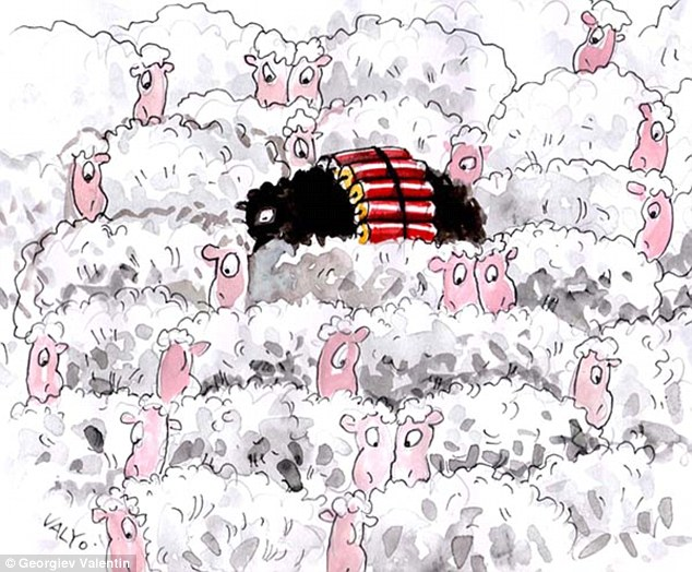 Black sheep: More than 1,000 images were submitted to Iran's House of Cartoon competition and hundreds were put on display