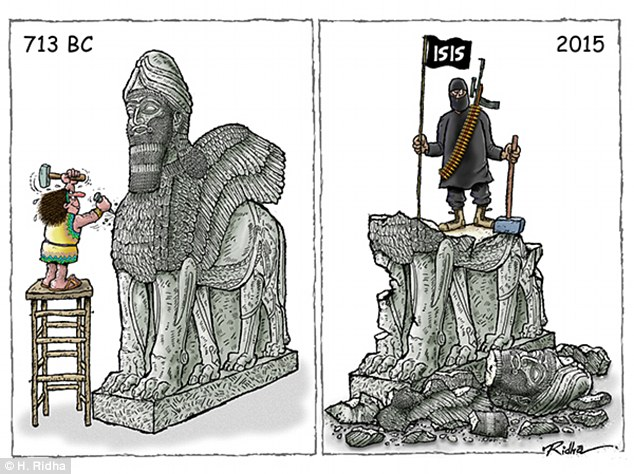 This image refers to the terror group's destruction of ancient artefacts - among a long list of ISIS' crimes
