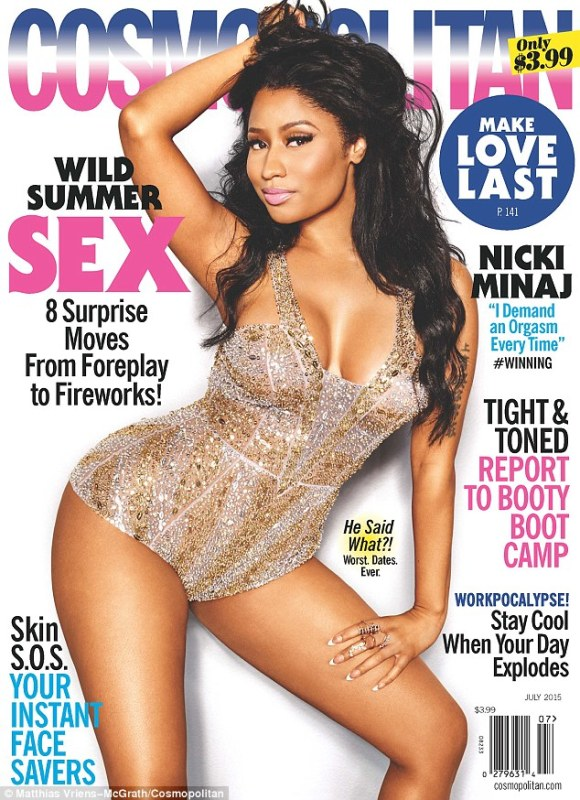 The 32-year-old rapper told the July edition of Cosmopolitan:'I demand that I climax...We both want the same feeling at the end, so if I can't have that feeling, I'm going to make you feel like s***'