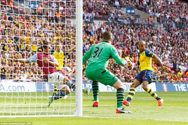 Theo Walcott thought he'd done enough to give Arsenal the lead with this close range effort before Kieran Richardson's (left) block