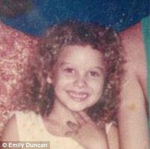 Ms Duncan pictured at the age of five - she spent most of her childhood travelling and living in four different countries and attended 17 schools