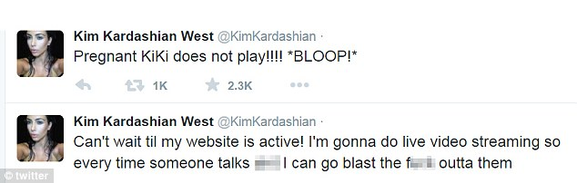 Feeling hormonal? On Tuesday, Kim also let rip on Twitter as ranted about 'lies' being printed about her
