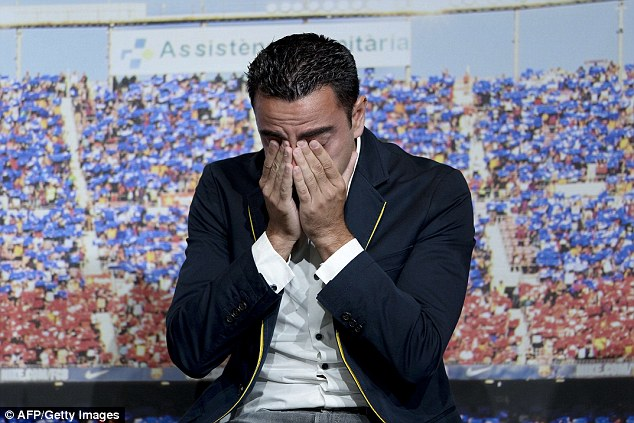 Xavi struggled to hold in his emotions after Iniesta thanked him for 'putting the group before yourself'