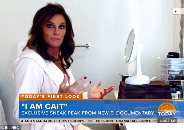 Going girly: This morning, the Today show aired a sneak peak of Caitlyn's E! documentary, in which she applies make-up and wears nail polish