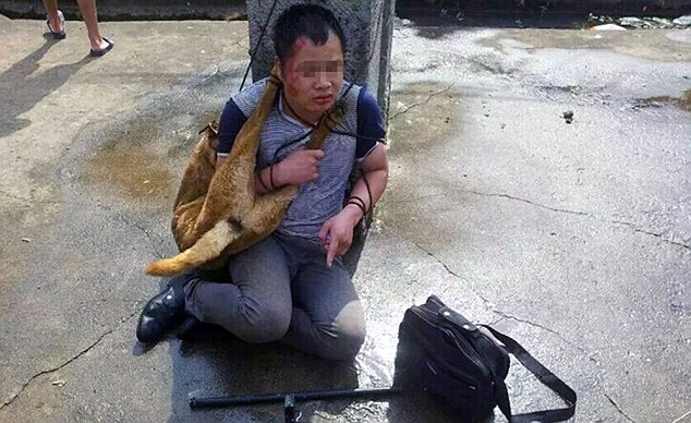Wuff justice: One of the dog thieves is seen tied to a tree in the Chinese village with the body of one of the animals he allegedly killed