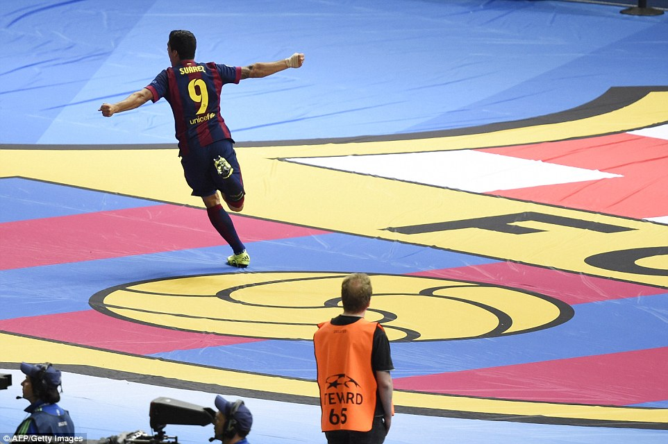 Suarez celebrated wildly as the Uruguayan ended a magnificent first season with the Catalan club in remarkable fashion