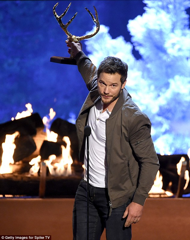 Dashing: Chris Pratt accepted the Man Of The Year trophy