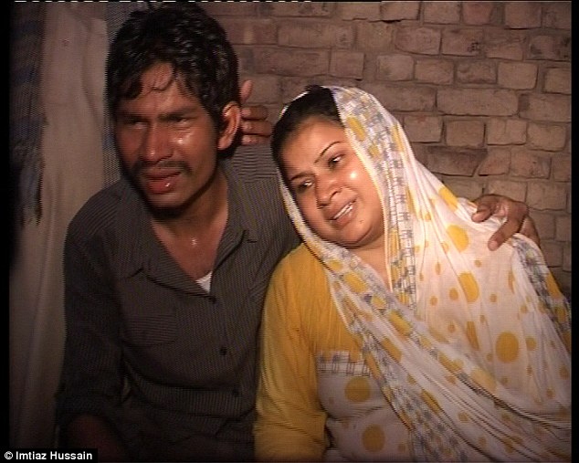 Distraught: Shabana, right, has called for her husband, who is on the run, to be strangled like her children