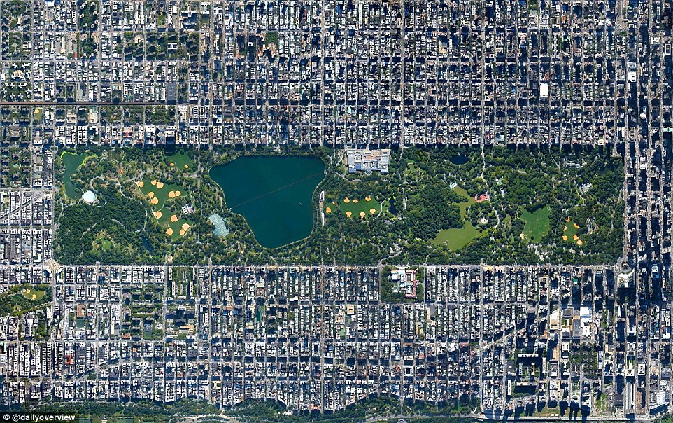 Central Park in New York City spans 843 acres, which accounts for six per cent of the island of Manhattan