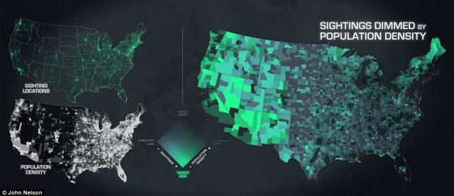 Estados donde los avistamientos de ovnis son más comunes incluyen Maine, Washington, Arizona, Nevada, que pasa a incluir la zona 51, Nuevo México - el sitio del famoso incidente de Roswell ocurrió en 1947, como se muestra en esta imagen
