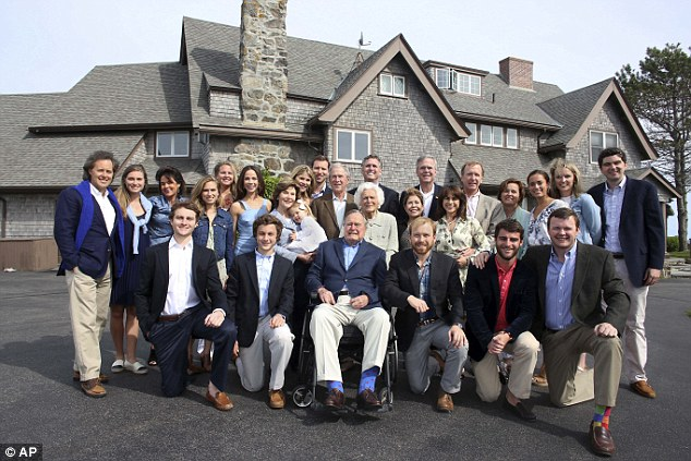 Change: Unlike his wife Barbara (above with the entire Bush clan) who had a star-studded party earlier in the week for her 90th birthday, George kept things low key