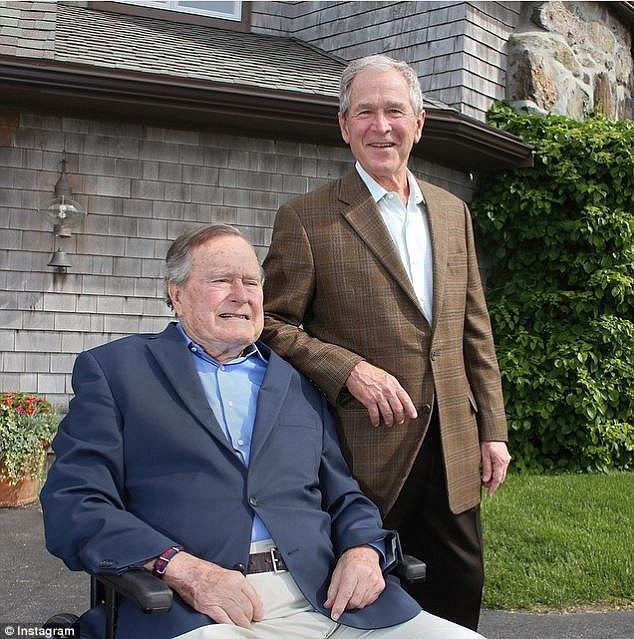 Loved: Preisdent Bush also received a nice tribute from his son George (above) on Instagram
