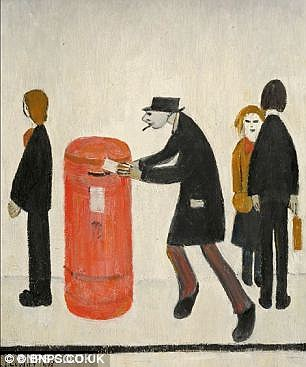 The real version of The Postbox, painted by LS Lowry
