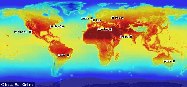 This annotated map shows how the temperature of key cities around the world will change by the year 2100
