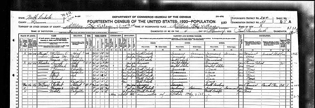 A 1920 census from Killdeer, North Dakota, showing Sam and Huldah Rhoades, Rachel Dolezal's second great grandparents.