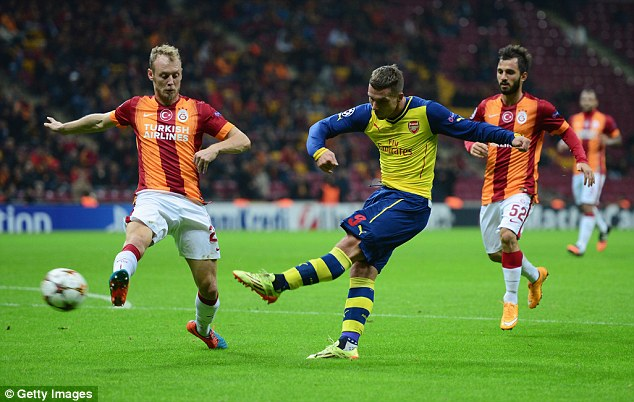 Podolski, pictured scoring againstGalatasaray in 2014, is set to join the Turkish club on a four-year deal