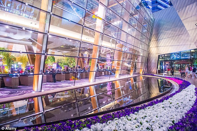 The inside of the Aria is  illuminated with a multitude of colours