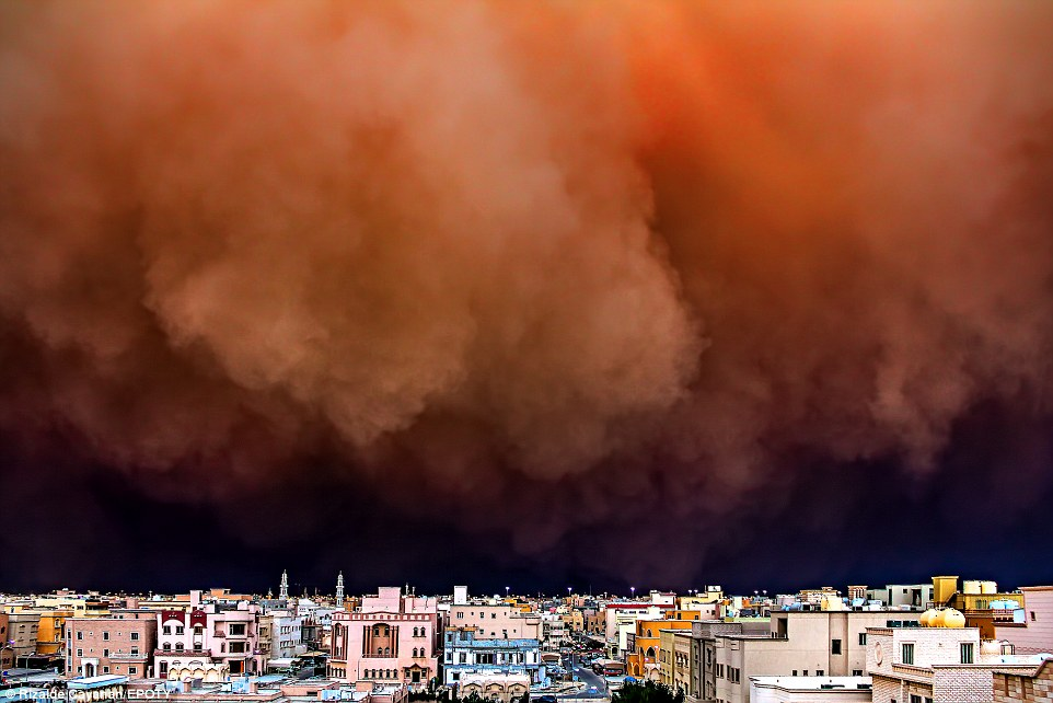 In a swirling mass of orange, a sandstorm suddenly enveloped parts of Kuwait in the image above. The storm in 2011 shut down Kuwait's International Airport and the dust reduced visibility to less than 500 metres while in some areas, there was reportedly no visibility at all