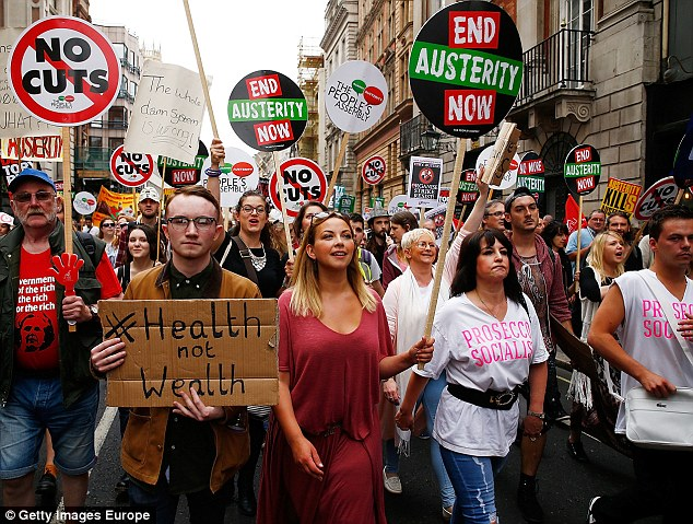 Singer Charlotte Church joined thousands of protesters on an anti-austerity march through London