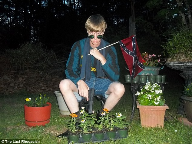 Killer: A website seemingly belonging to Charleston killer Dylann Roof included this photograph of him aiming posing with a gun and a Confederate flag surrounded by pot plants