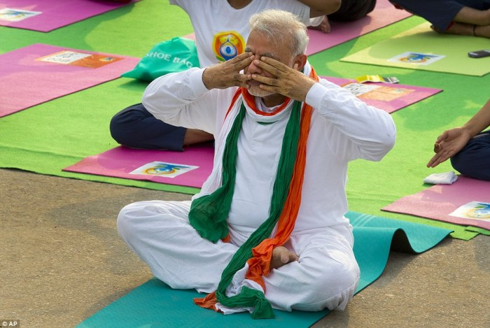 Indian Prime Minister Narendra Modi, who performs the ancient tradition of yoga every day, is seen here in New Delhi