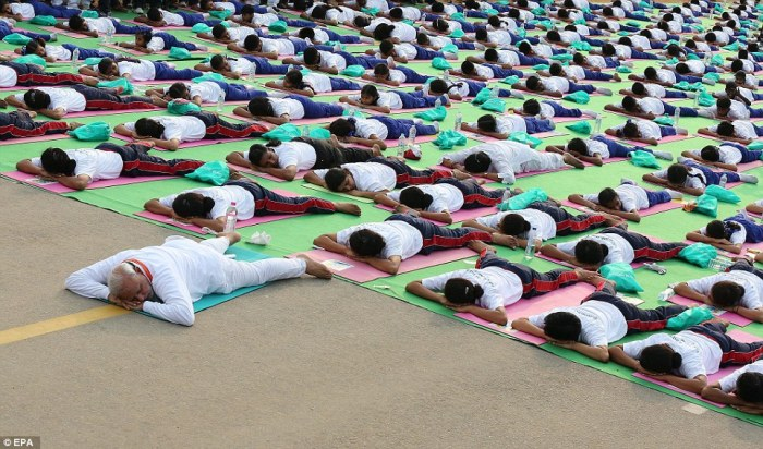More than 35,000 people participated in a mass yoga demonstration in New Delhi marking the first International Day of Yoga