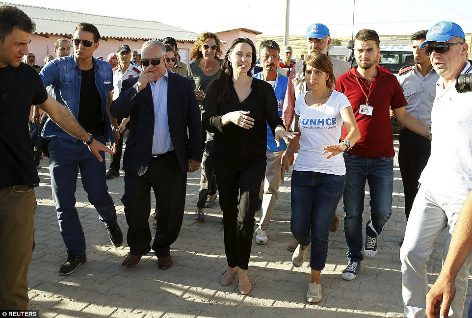 Jolie visited the camp which is sheltering those who have fled the 4-year conflict in neighboring Syria. The UN refugee agency has said the number of Syrian refugees seeking its help now tops two-million - and could be far higher