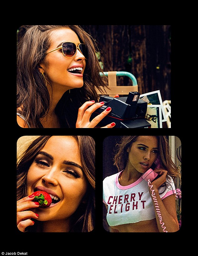 Playful: The beauty is seen snacking on a strawberry, posing as a photographer, and talking on the phone