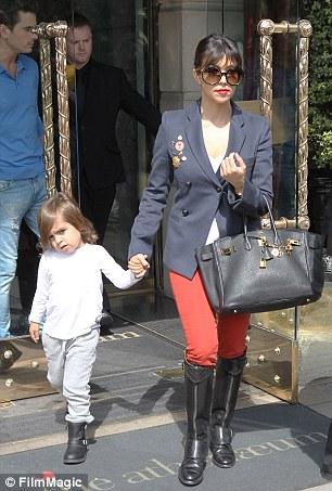 Kourtney Kardashian and her son Mason seen leaving their hotel in London