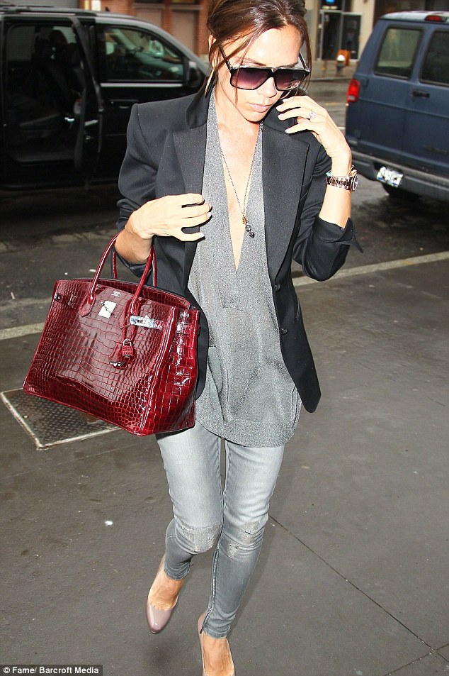 Popular brand: The Birkin handbags, made by Hermes from the skin of the crocodiles, are a favorite for celebrities including Victoria Beckham