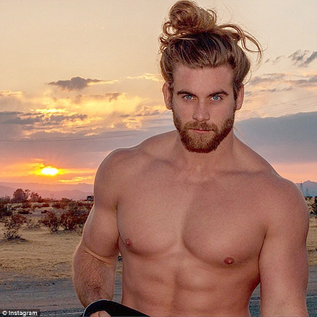 Rising star: Brock O'Hurn has become an internet sensation after a video of him putting his hair into a messy bun received nearly five million views on Facebook since it was posted in November
