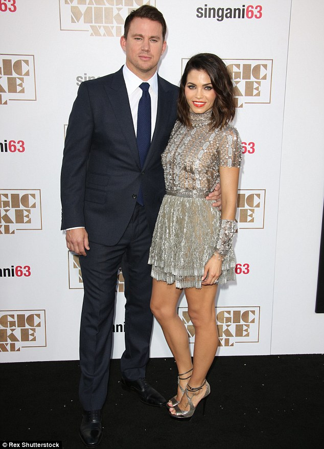 What a good looking couple! Channing Tatum, left, and Jenna Dewan-Tatum, right, showed off their sexy selves as they attended the Magic Mike XXL film premiere in Los Angeles, California on Thursday