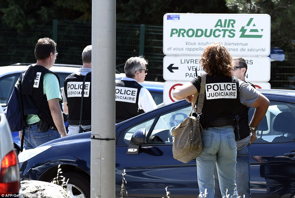 Blocked: French police secure the entrance of the Air Products company in Saint-Quentin-Fallavier, near Lyon this morning