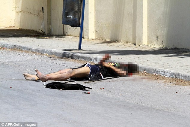 Response: The corpse of the gunman, who is believed to be a 23-year-oldSeifeddine Yacoubi, was later pictured on the side of the road